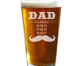 Dad Beer Glass, Personalized Pint Glass, Father's Day Gift, Christmas Gift, Engraved Pint Glass, Husband Gift, Dad Gift