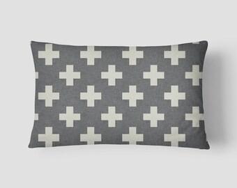 """Grey Plus // Decorative Pillow Cover 12""""x18"""" // Lumbar Pillow // Rectangular Throw Pillow"""