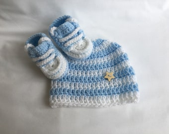 Baby clothes, Baby sneakers, Crochet baby shoes, Newborn sneakers, Baby shower gift, Baby hat, Handmade baby clothes, Baby boy gift, Newborn