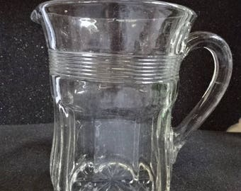 Glass Milk Jug/Applied Handle/Vintage