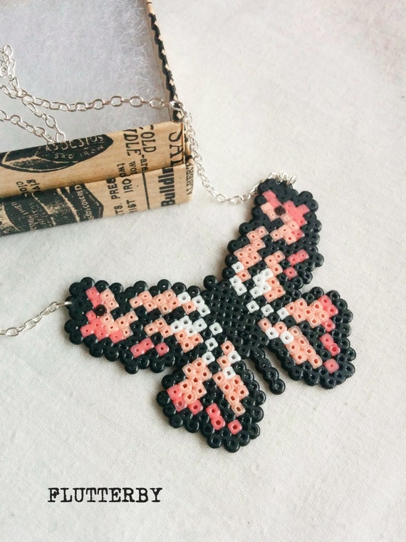 Flutterby necklace in rose quartz and cerise made of Hama Mini Perler Beads for 8bit pixelated butterfly lovers