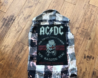 upcycled distressed AC DC tshirt on sleeveless frayed distressed flannel