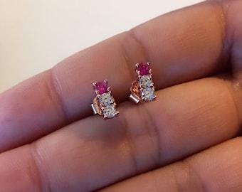 Stud Earrings Rose Gold Minimal Earrings Bar Earrings Ruby Earrings Gift for Her Tiny Earrings Rose Gold Earrings Ruby Studs Pink Earrings