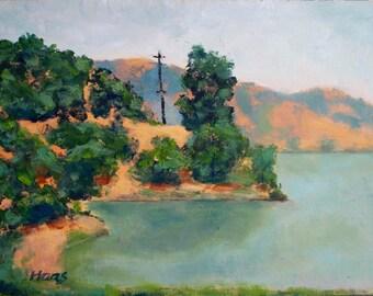 California Plein Air Landscape Oil Painting Original Wall Art San Francisco Bay Area China Camp San Rafael Coast California Artist Artwork