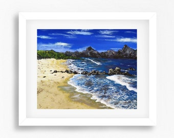 Beach Painting, Beach Print, Beach Decor, Beach Art, Coastal Art Prints, Beach Wall Art, Printable Beach Art, Colourful Coast Painting Print