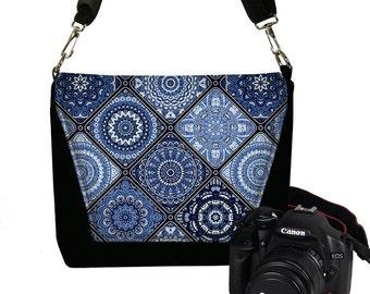 Camera Case DSLR Camera Bag Purse Messenger Bags for Women, Nikon Camera Bag, Canon Camera Bag, Asian Porcelain Blue, zipper, Handmade RTS