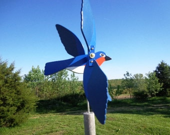 Blue Bird Whirligig - Yard Ornament - Brightly Colored - Hand Crafted