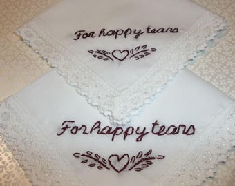 reserved for annie for happy tears, wedding handkerchief, hand embroidered, bridesmaid gift, keepsake hanky, rustic weddings, heart design,