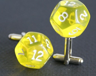 Transparent yellow 12 Sided Dice Cufflinks d12 Free gift bag Unique Wedding