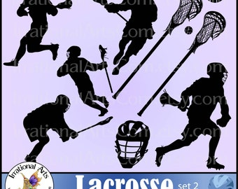 Lacrosse Players set 2 - Vinyl Ready - Vector digital clipart graphics 9 EPS & PNG files with players, sticks ball helmet [Instant Download]