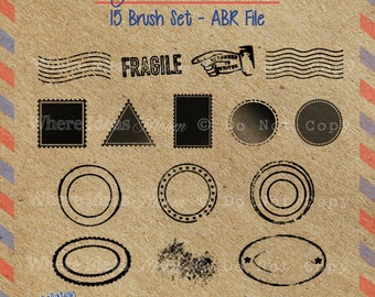Instand Download - Vintage Postmark and Stamp Photoshop Brushes