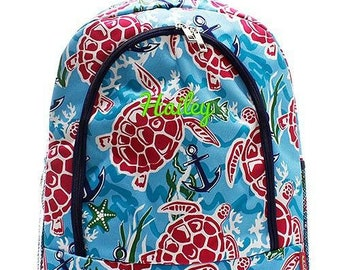 Monogrammed Backpack Personalized Sea Turtle Backpack Personalized Backpack Kids Backpack Girls Backpack Boys Backpack