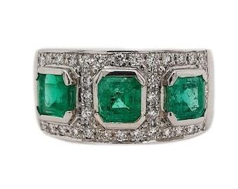 Platinum Columbian Emerald & Diamond Ladies Dress Ring