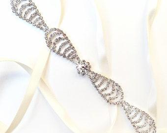 SALE! Crystal Bow Bridal Headband - Custom Satin Ribbon - Rhinestone Crystal Headband or Thin Belt - Standard Length