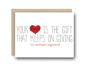 Funny Card for Boyfriend - Your Love Is The Gift That Keeps On Giving - Anniversary Card, Birthday Card, Valentine's Day Card, Love Card