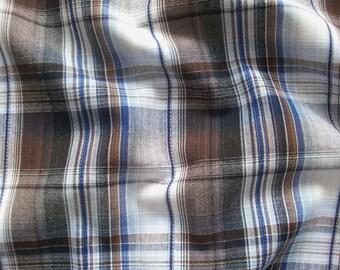 Cotton fabric checkered V2207 in white-brown-black-dark blue