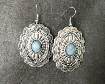 Silver and blue beaded earrings