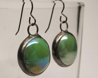 Clover Drops - Sterling Silver Glass Earrings