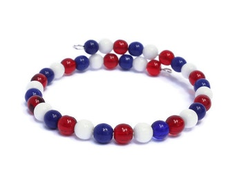 US Patriotic Jewelry - Red White and Blue - Patriotic Bracelet - Independence Day USA - Patriotic Gifts for Women - Flag Bracelet - July 4th