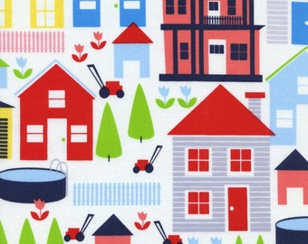 Neighborhood Houses in White, Designer Fabric from TImeless Treasures Fabric, 1 Yard Total