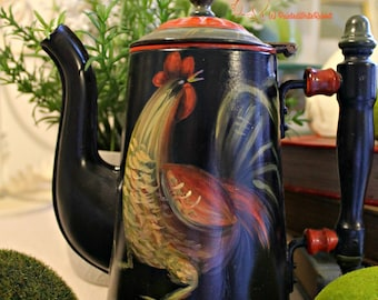 Acrylic Folk Art Rooster Coffee Pot- Farm House Decor, Whimsical Decor, Cottage Chic, Rosemaling, Country Chic