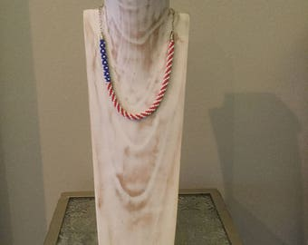 Patriotic red white and blue Kumihimo necklace
