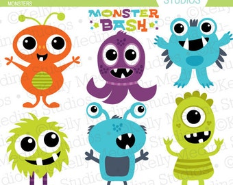 Monsters - Clip Art - Digital Elements Commercial use for Cards, Stationery and Paper Crafts and Products