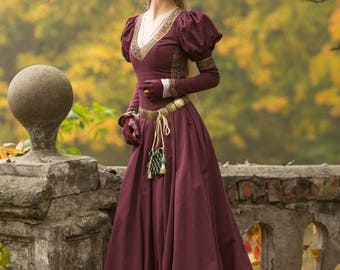 "Medieval Cotton Fantasy Dress ""Princess in Exile""; Long Dress; Women's Dress; Medieval Dress"