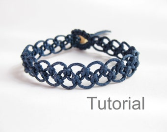 Tutorial macrame bracelet pattern pdf easy navy blue knotted step by step photo instructions beginner instant download jewelry