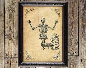 Memento Mori, Skeleton, Death, Gothic, Dark, Occult, Medieval, Gothic poster, Occult print, Magic poster, Witchcraft, Skeleton poster, #0035