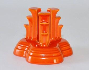 Vintage Single Homer Laughlin Fiesta Tripod Red Orange Candlestick Holder