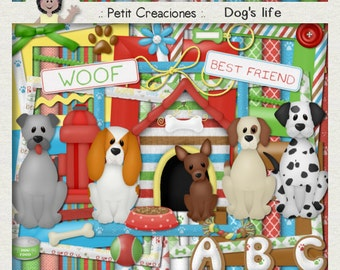 "KIT SCRAPBOOKING DIGITAL ""Dog's life"""