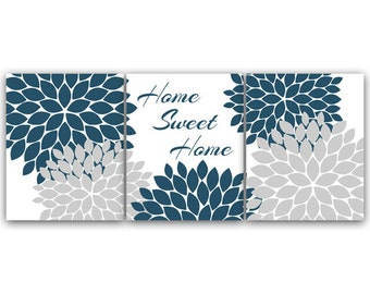 Exceptional Home Decor Wall Art CANVAS, Home Sweet Home, Slate Blue Wall Art, Flower