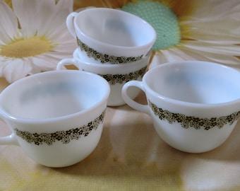 Vintage Set of Four Pyrex Glass Spring Blossom/ Crazy Daisy Round Coffee Mugs/ Tea Cups
