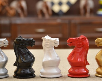 """Flamboyant Staunton Series Chess Pieces in Painted Box Wood - 3.8"""" King. SKU: S1297"""