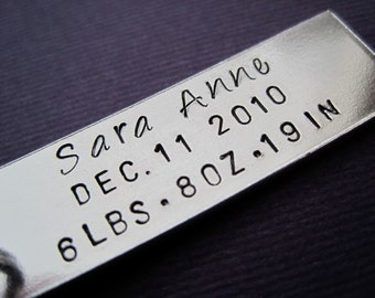 Baby Announcement Keychain - Personalized Birth Annoucement Accessory