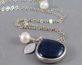 Blue Stone,Necklace,Silver Necklace,Pebble,Necklace,Blue,Stone,Pearl Necklace,Leaf Necklace,Leaf,Navy Blue,Sapphire,,Sea Maiden Jewelry