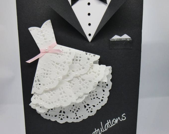 Handmade Wedding Card, Bride and Groom, Mr and Mrs, Congratulations Card, Wedding Dress and Tuxedo, Black and White