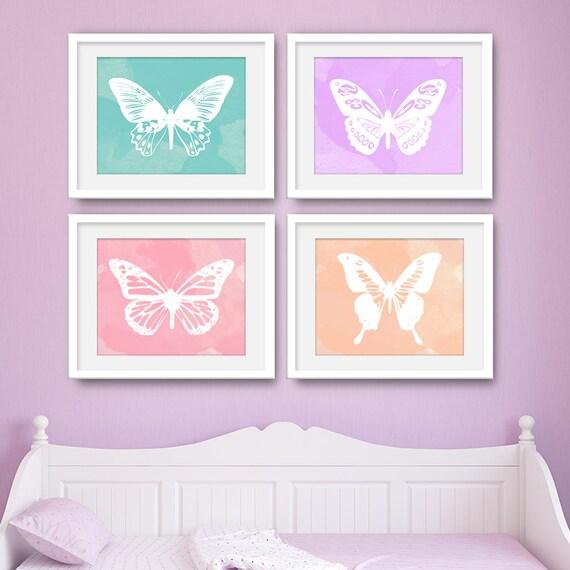 Butterfly Art, Butterfly Wall Art, Butterfly Print, Butterfly Nursery, Set of 4 Prints, Set of 4 Wall Art, Set of 4, Canvas - KA2000S