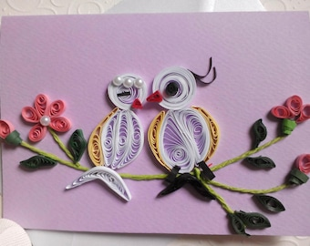 quill cards, quill birds card, quill wedding card, paper quilling card, anniversary card,  quilling cards, quill embellished card