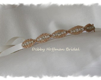 Rose Gold Wedding Headband, Bridal Headband, Rose Gold Bridal Hair Piece, Halo Headband, Boho, Rose Gold Wedding Headpiece, No. 4070RGHB