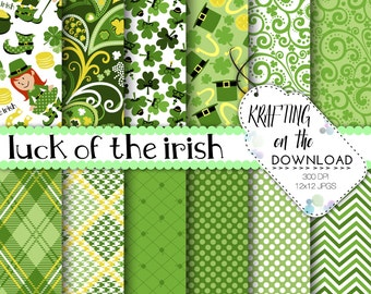 st patricks day digital paper st patrick scrapbooking papers shamrock paper pack clover digital paper leprechaun clipart instant download