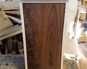 Figure maple and walnut jewelry cabinet.