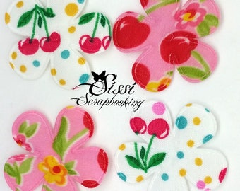LOT 4 APPLIQUE flowers in fabric green and pink white cherry fruit SCRAPBOOKING sewing pin 35 mm