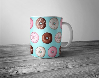 Donut Mug - Doughnut Blue Aqua Coffee Cup Latte Mug Great Gift