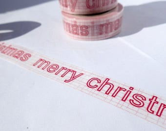 Merry Christmas Washi Tape - Paper Tape Great for Scrapbooking Paper Crafts and Christmas Decorations - Red and White Words 15mm x 10m