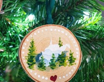 Hand painted West Virginia Almost Heaven wood slice ornament   West Virginia Ornament   Christmas Ornament