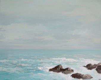 "Acrylic Painting Original Seascape // ""Sea-Foam"" 12"" x 12"" on Canvas // Wall Art"