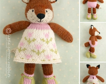 Toy knitting pattern for a girl fox in a flowery frock