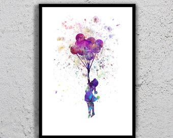 Banksy Balloon Girl print watercolor illustration, giclee art print, silhouette, nursery